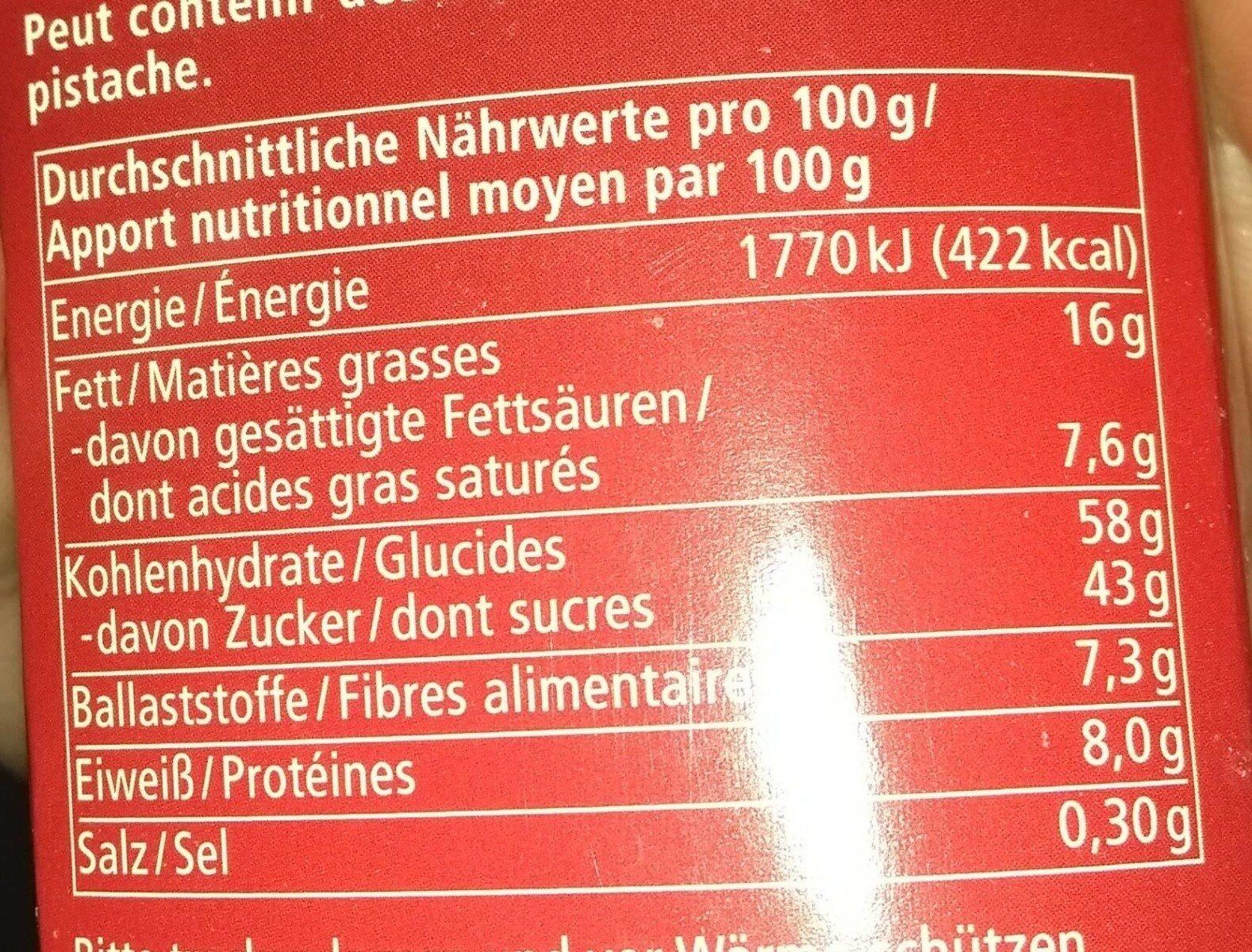 Mini Schoko Lebkuchen - Informazioni nutrizionali - de