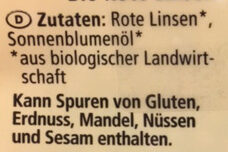 Rote Linsen - Ingredients - de