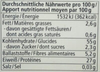 Rote Linsen - Nutrition facts - de