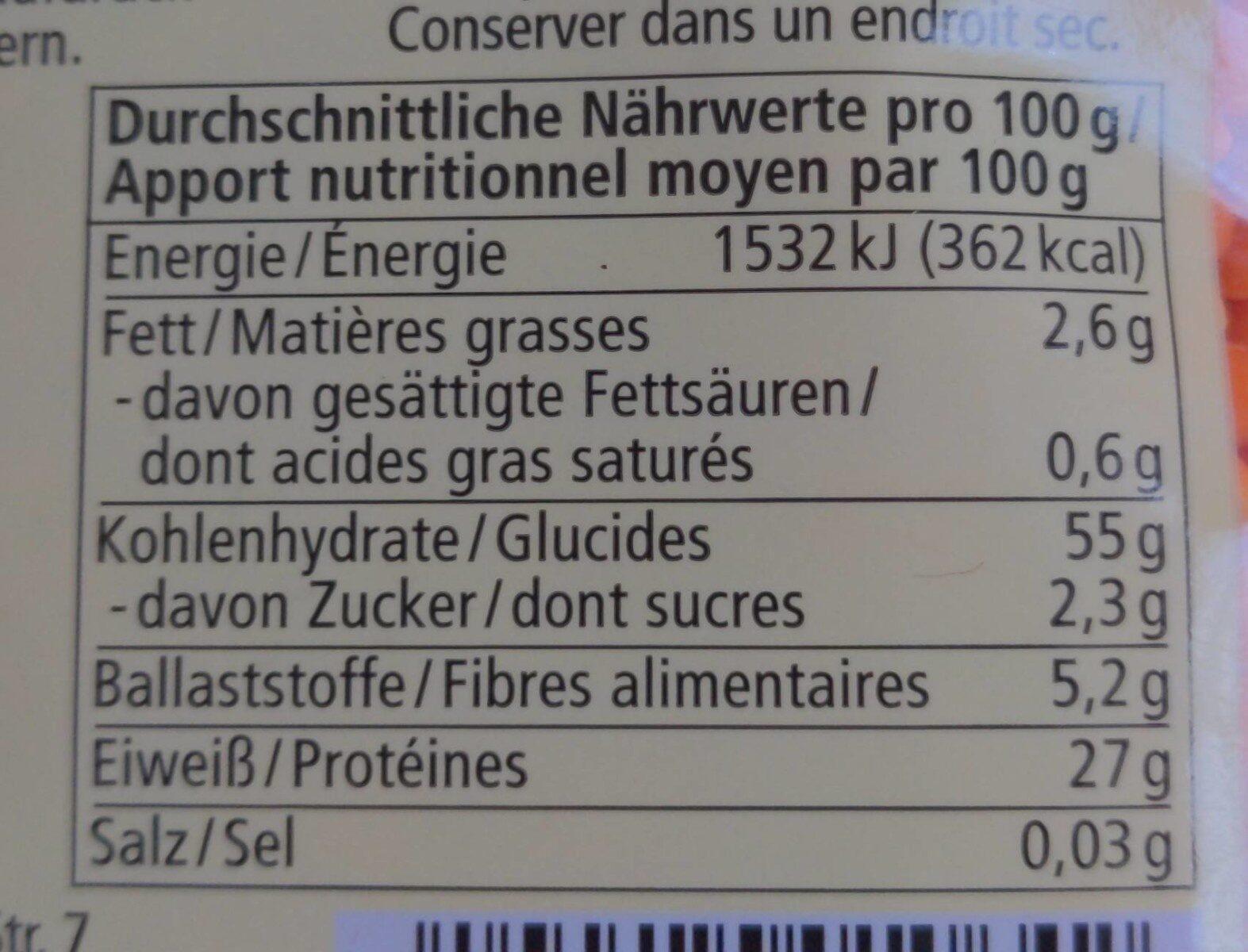 Rote Linsen - Nutrition facts - de