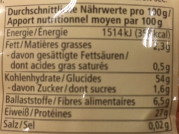 Rote Linsen - Informations nutritionnelles - fr