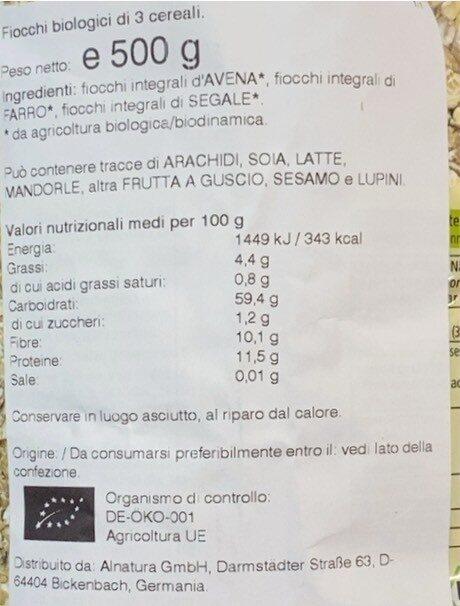 Flocons 3 céréales - Valori nutrizionali - de