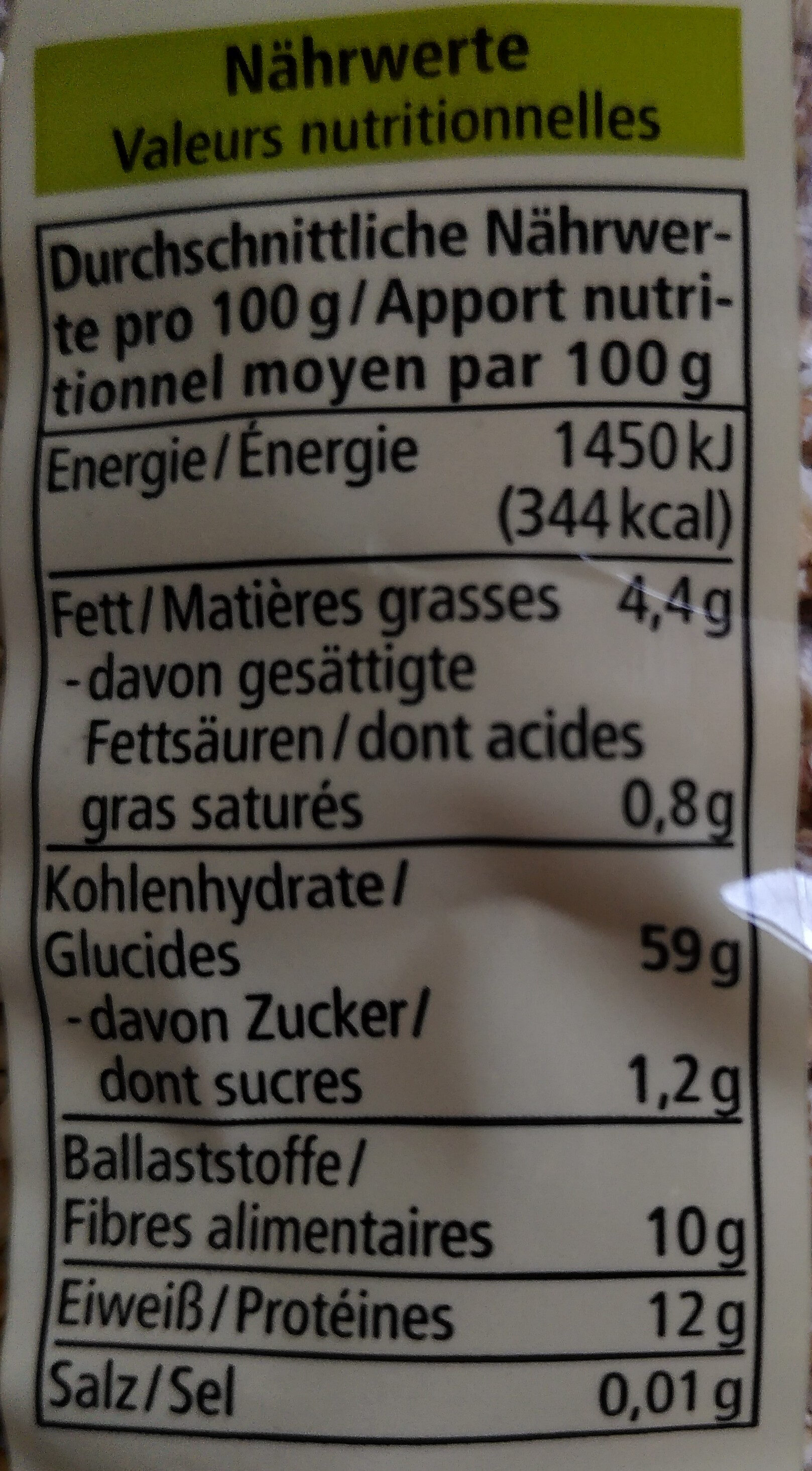 Flocons 3 céréales - Nutrition facts - fr