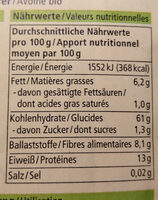 Alnatura Hafer - Informations nutritionnelles