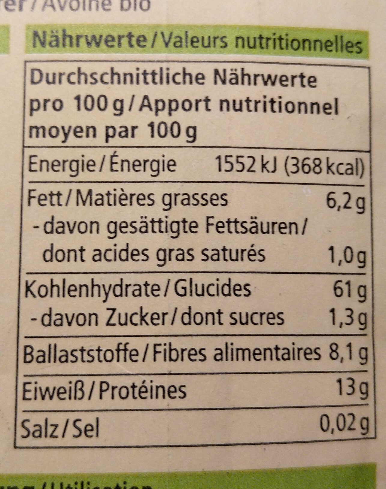 Alnatura Hafer - Informations nutritionnelles - fr