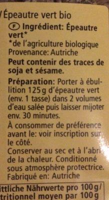 Grünkern - Ingrédients - fr