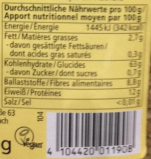 Grünkern - Informations nutritionnelles - de