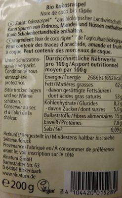 Kokos geraspelt - Noix de coco rapée - Ingrédients - fr