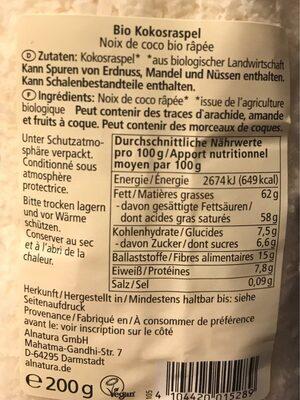 Kokos geraspelt - Noix de coco rapée - Informations nutritionnelles - de