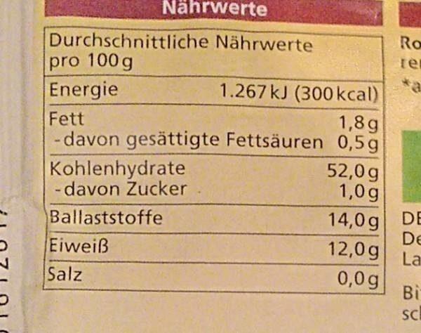 Sauerteig Extrakt - Nährwertangaben - de