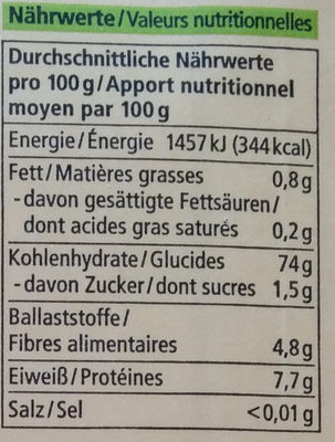 Maismehl - Nutrition facts