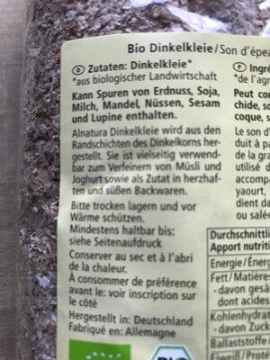Dinkel Kleie - Ingredients