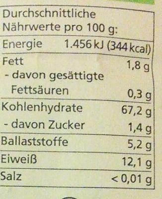 Dinkel Mehl Type 1050 - Nutrition facts