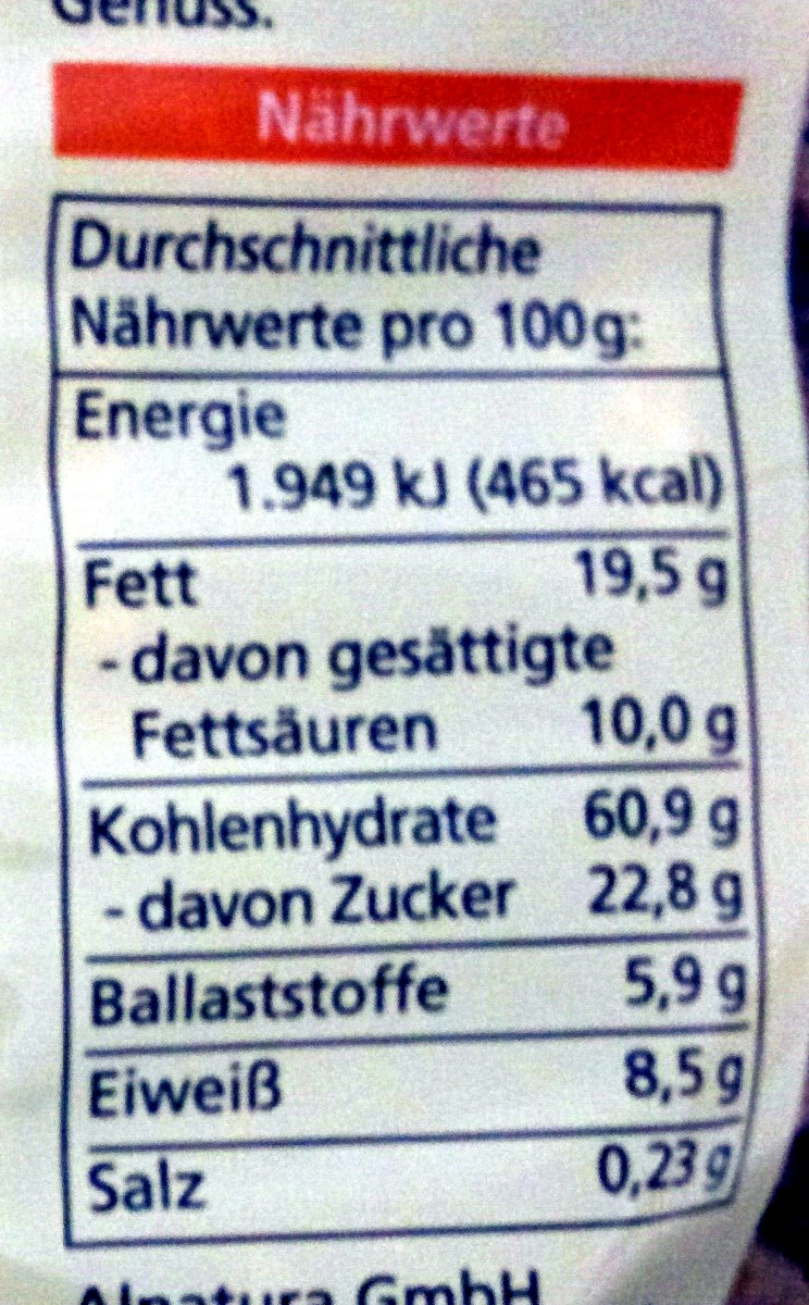 Hafer Crunchy - Nutrition facts