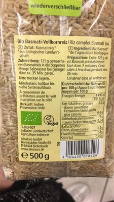 Basmati Reis Vollkorn - Product