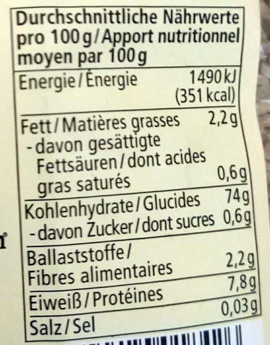 Basmati Reis Vollkorn - Nutrition facts