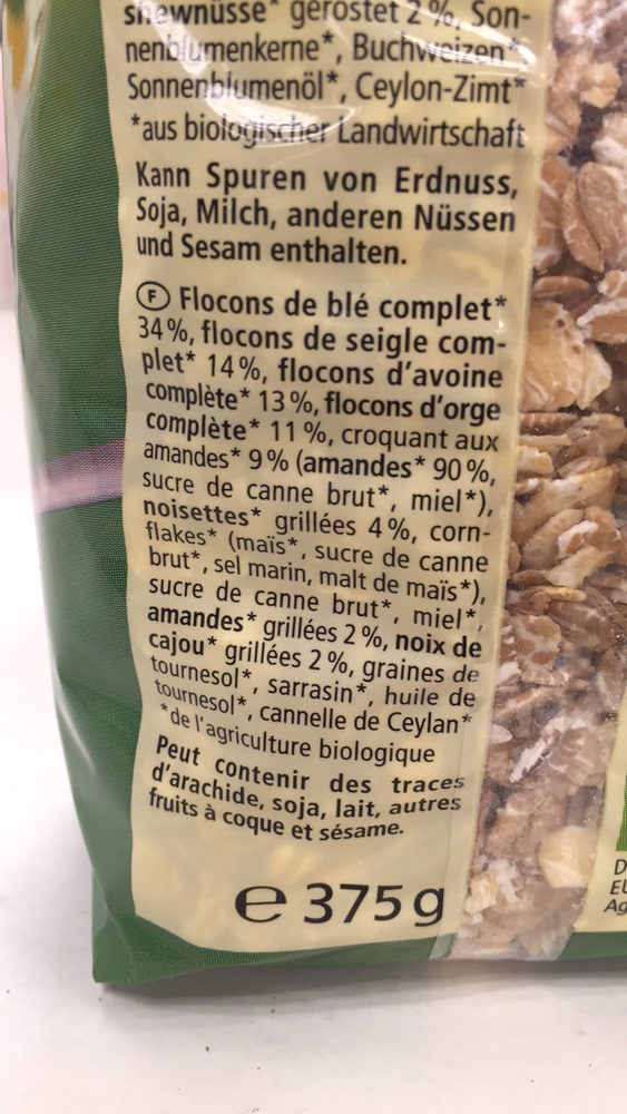 Muesli aux noisettes - Ingredienti - fr