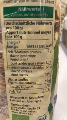 Muesli aux noisettes - Informazioni nutrizionali - fr