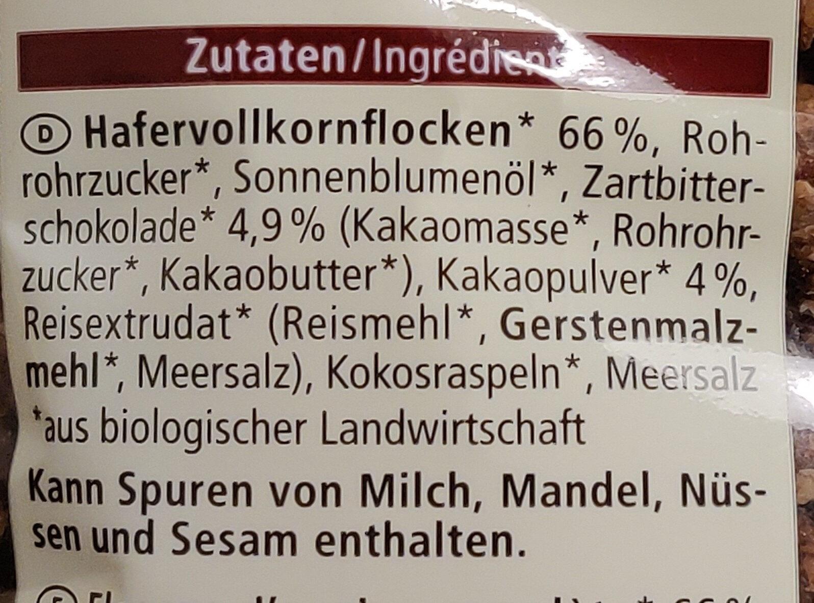 Zartbitter Hafer Crunchy - Zutaten - de