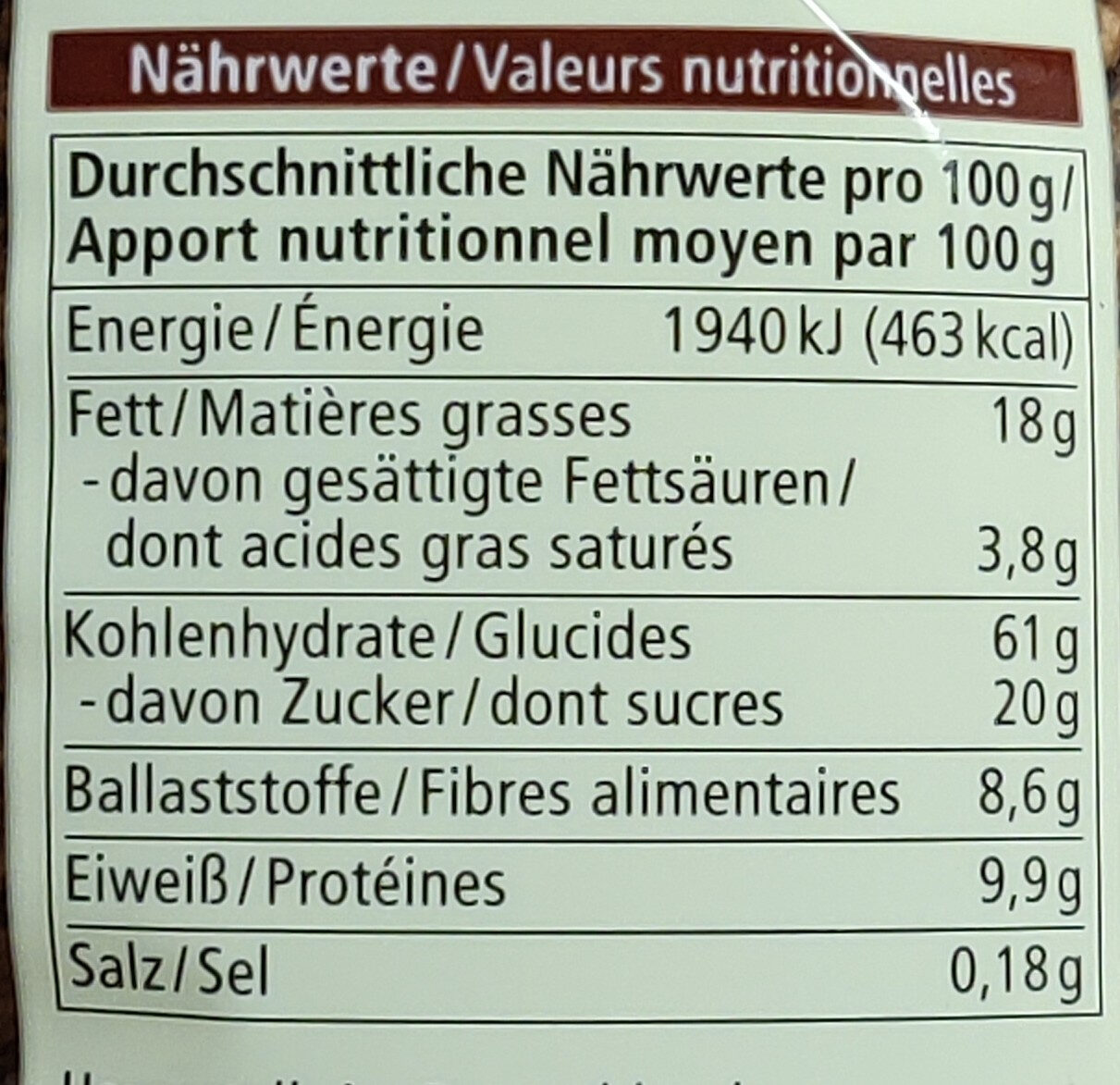 Zartbitter Hafer Crunchy - Nährwertangaben - de
