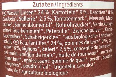 Linseneintopf - Ingredienti - de