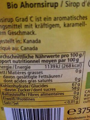 Sirop d'érable Grade C - Informazioni nutrizionali