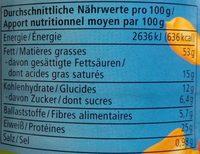 Erdnuss Creme - Nährwertangaben
