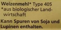 Weizenmehl Type 405 - Ingredients - de