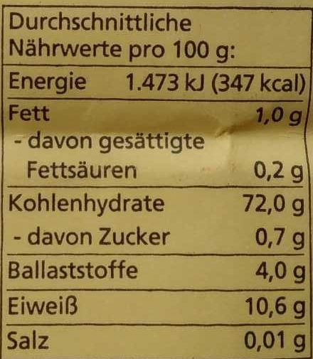 Weizenmehl Type 405 - Nutrition facts - de