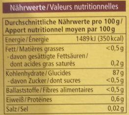 Speisestärke - Nutrition facts - de