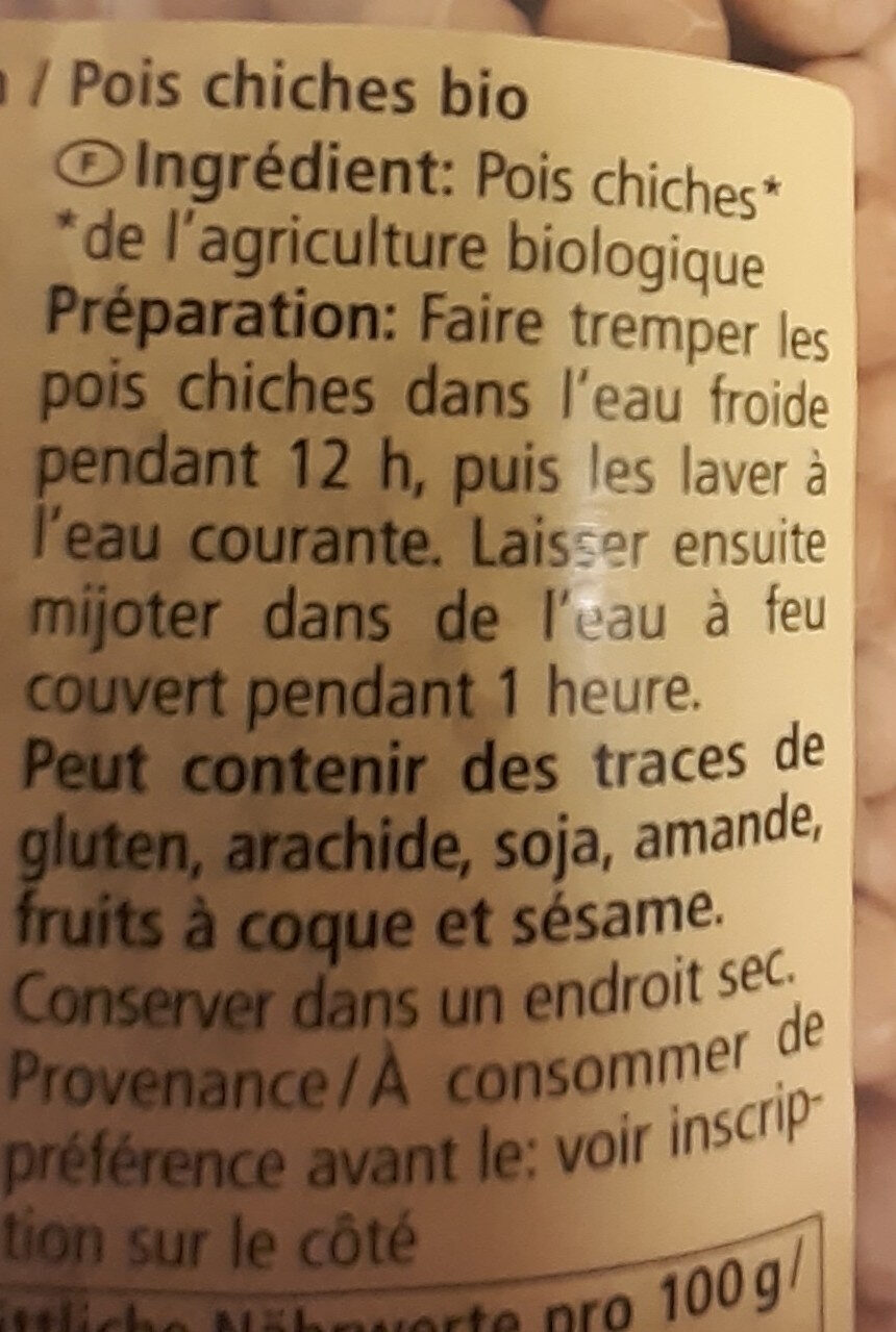 Pois chiches - Ingrédients - fr