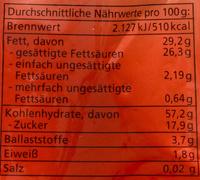 Bananen Chips - Informazioni nutrizionali - de