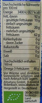 Leinöl, Nativ - Informations nutritionnelles