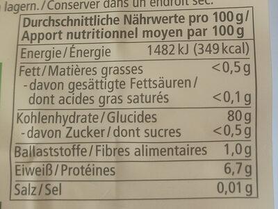 Risotto Reis Carnaroli - Informations nutritionnelles - de