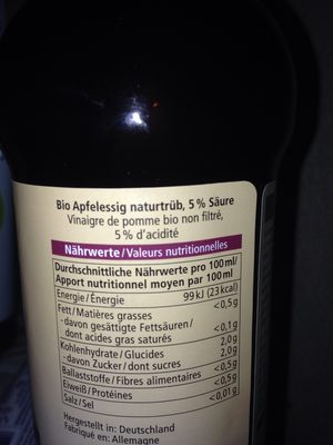 Apfelessig - Ingrédients - fr