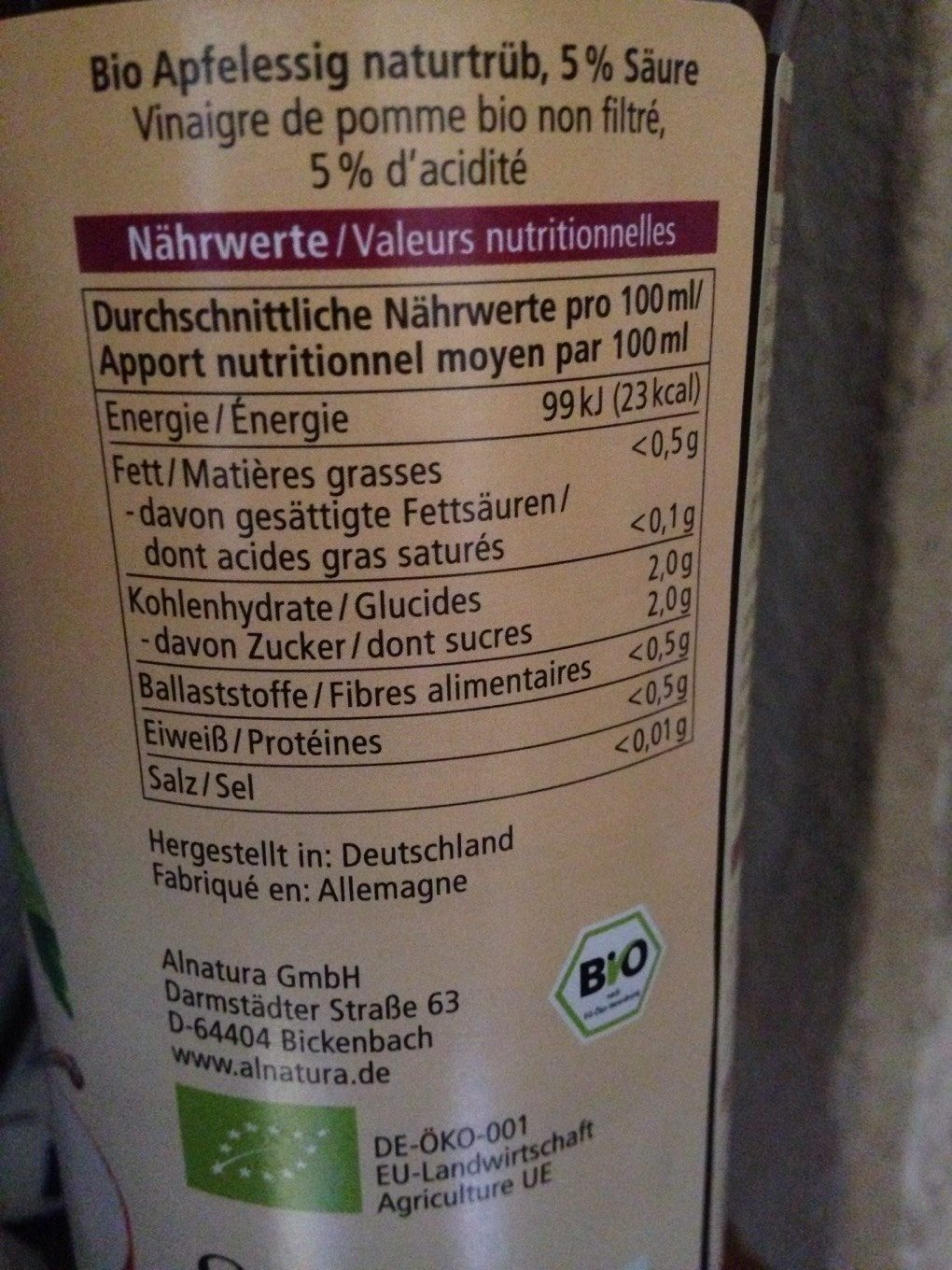 Apfelessig - Informations nutritionnelles - fr