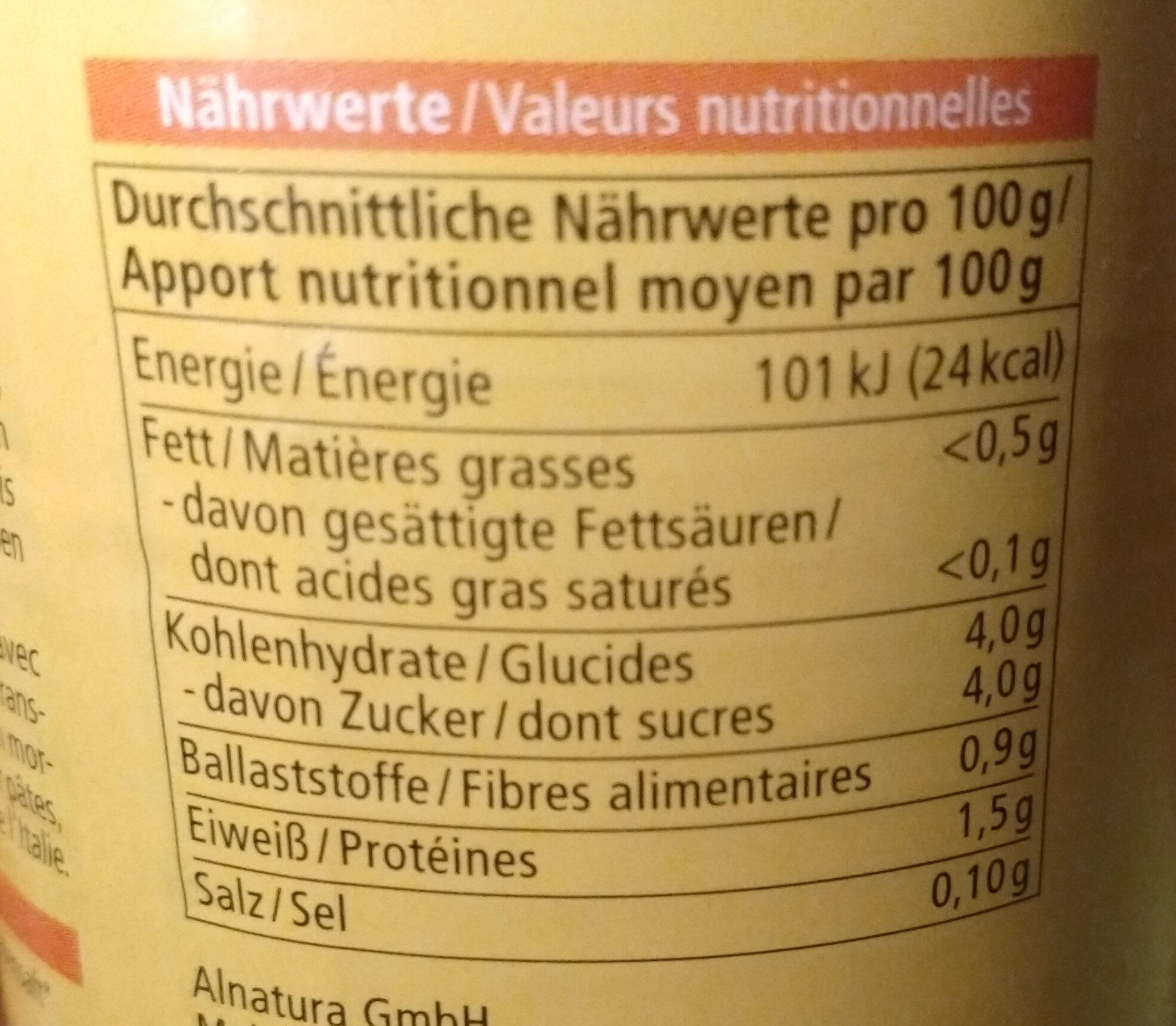 Tomatenstücke Natur - Informazioni nutrizionali - de