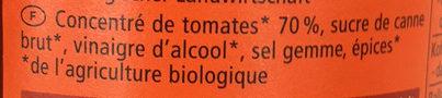 Ketchup à la Tomate Bio - Ingrédients - fr