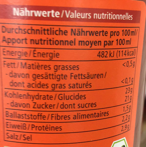 Ketchup à la Tomate Bio - Informations nutritionnelles - fr