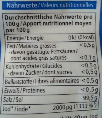 Meersalz mit Jod - Informations nutritionnelles
