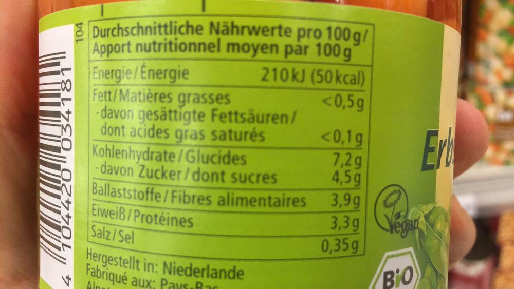 Erbsen & Mören - Nährwertangaben - fr