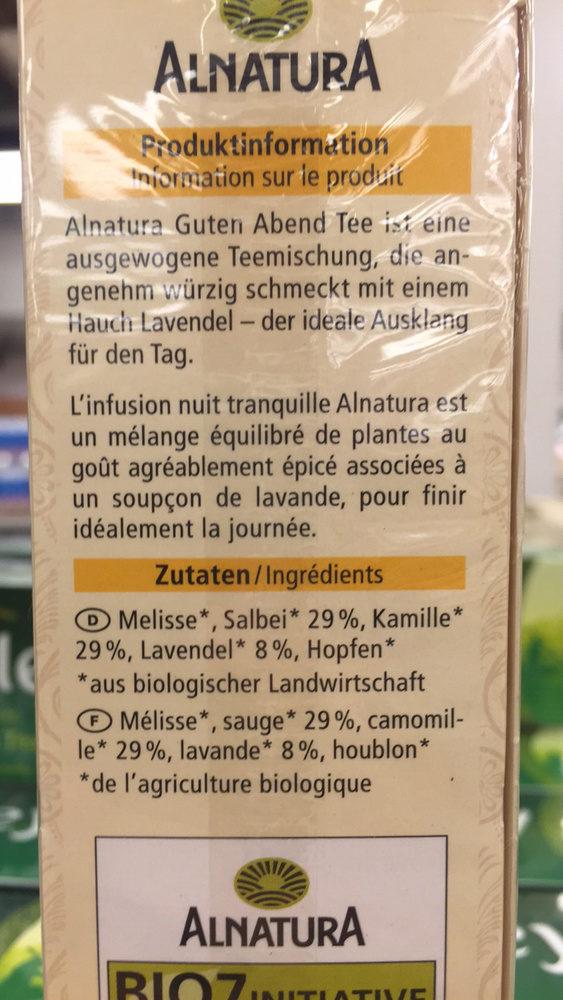 Infusion aux plantes bio - Ingredients