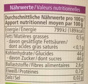 Fruits des bois - Informazioni nutrizionali - fr