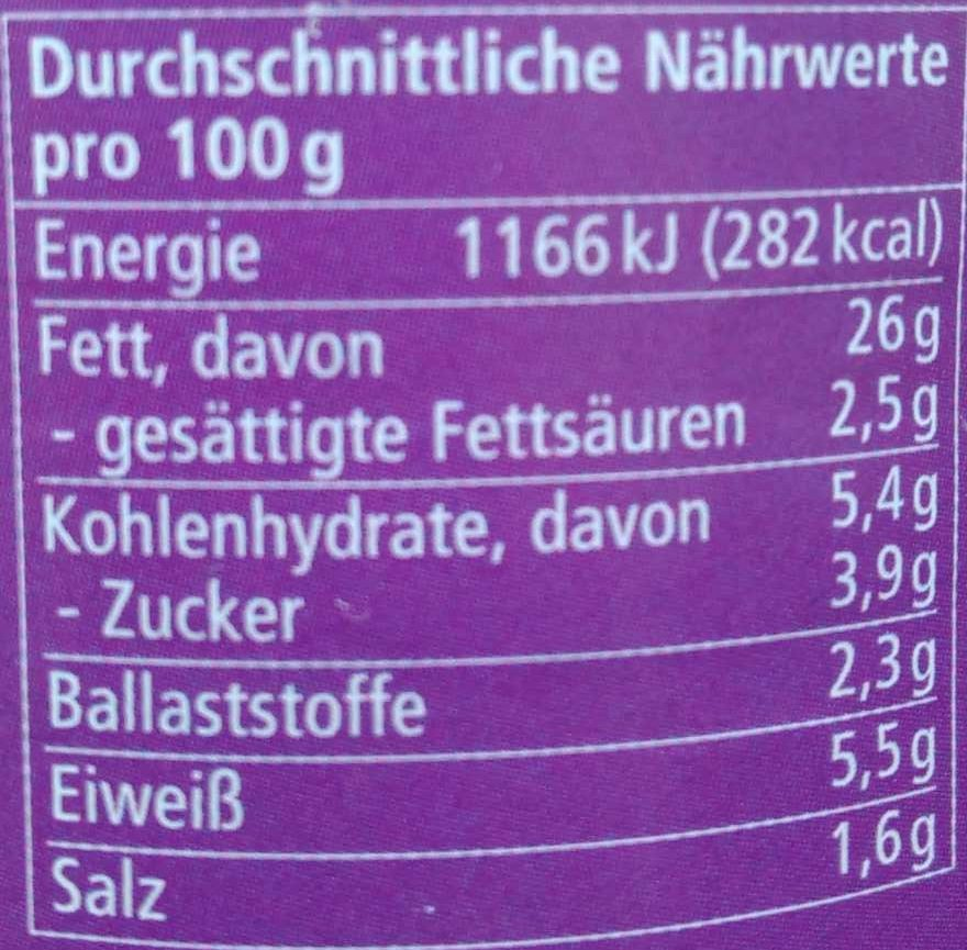 Streichcreme Aubergine - Voedingswaarden - de