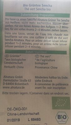 Alnatura Grüner Tee Sencha - Ingrédients - fr