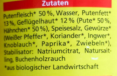 Puten wurstchen - Zutaten - de