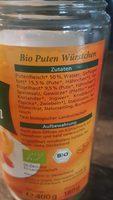 Bio Geflügel Würstchen - Ingrédients - fr