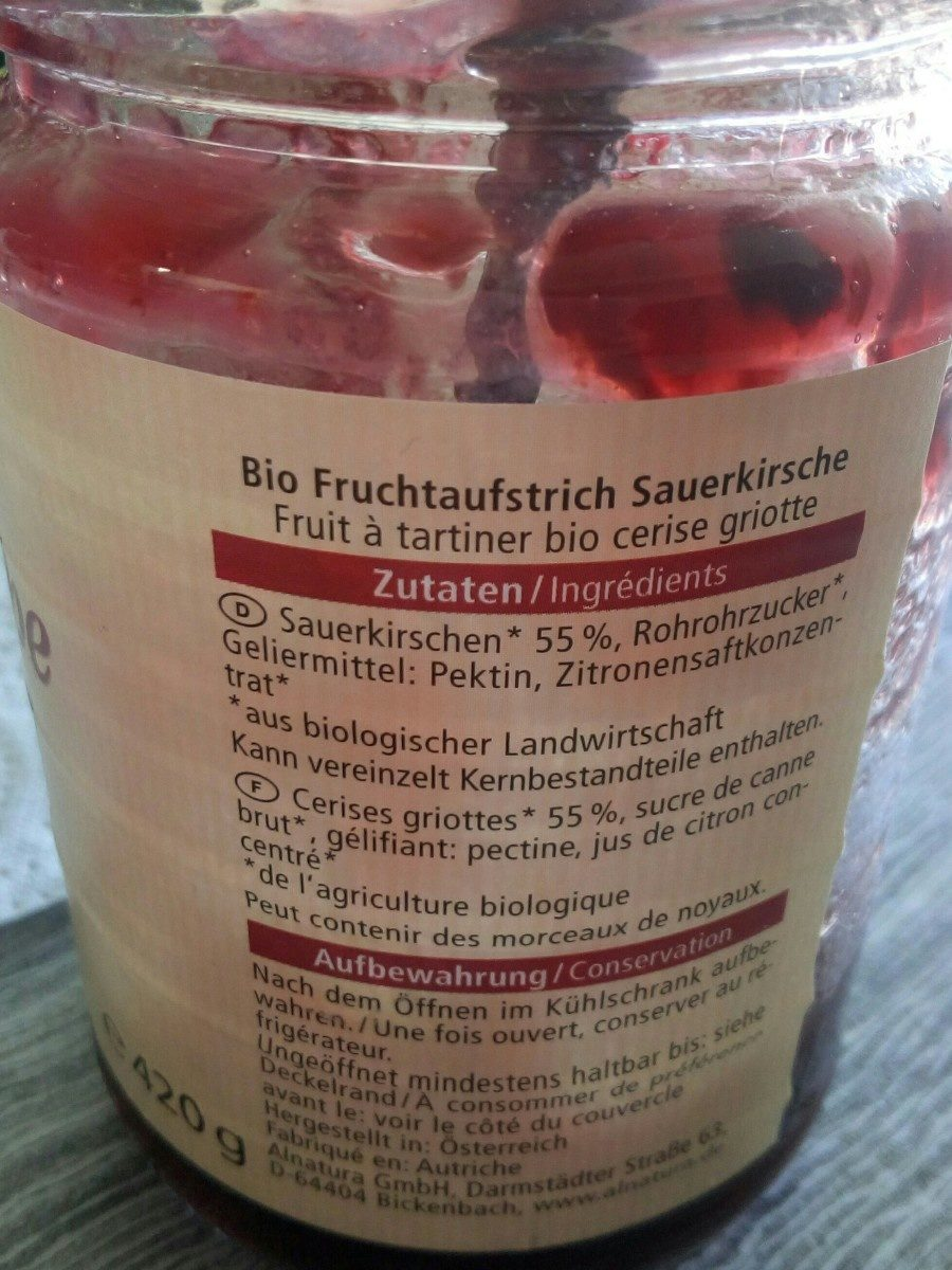 Bio Fruchtaufstrich Sauerkirsche - Ingrédients