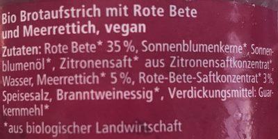 Streichcreme - Rote Beete, Meerrettich - Ingrédients
