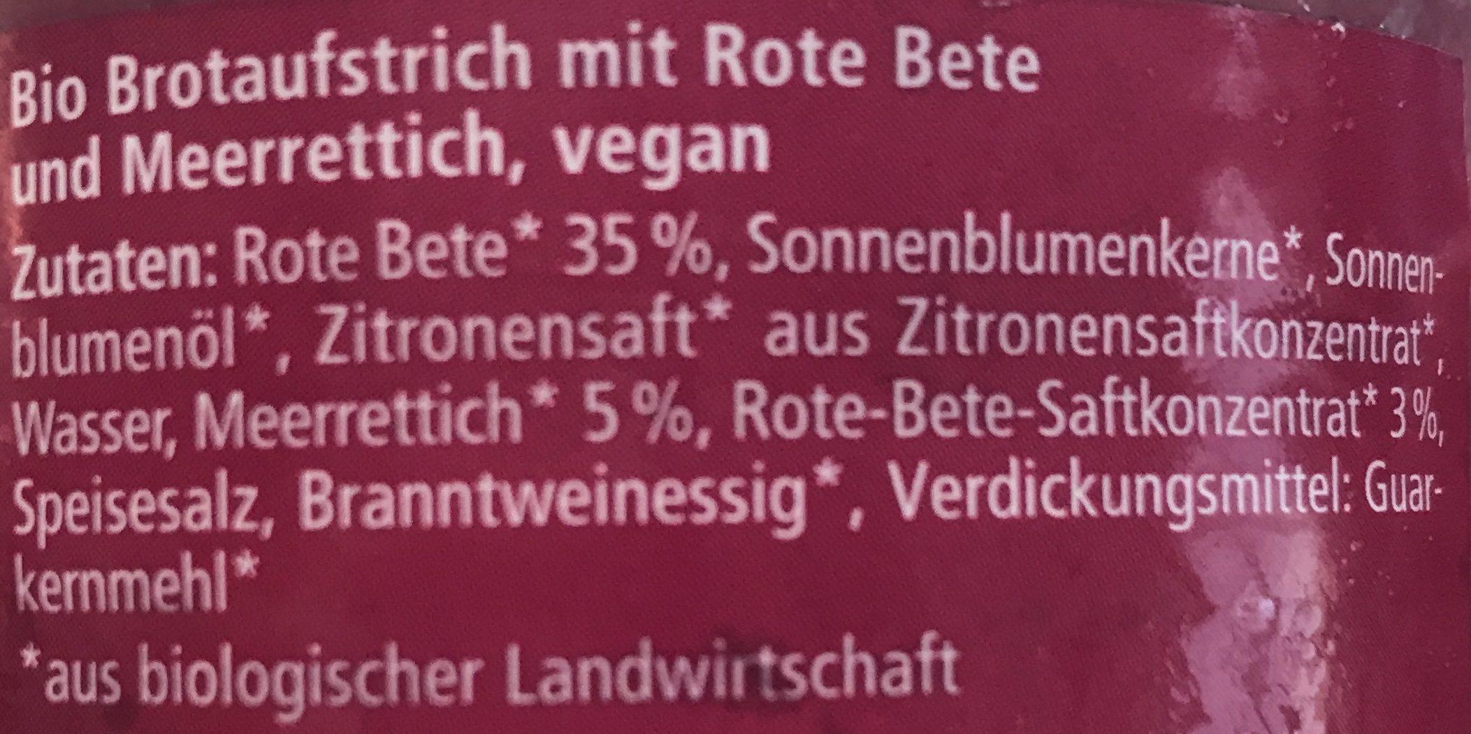 Streichcreme - Rote Beete, Meerrettich - Ingrédients - fr